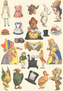 Vintage Alice in Wonderland Die Cut Paper Doll Sheet