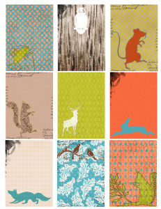 Free Printable ATC Collage Sheet - Woodland Creatures