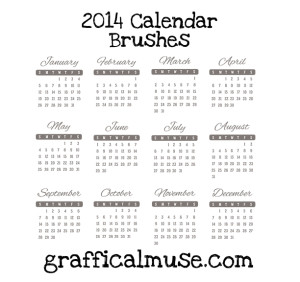 Free Photoshop Brushes - 2014 Calendar