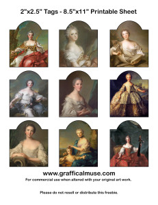 Free Printable Tags – Vintage French Aristocratic Ladies