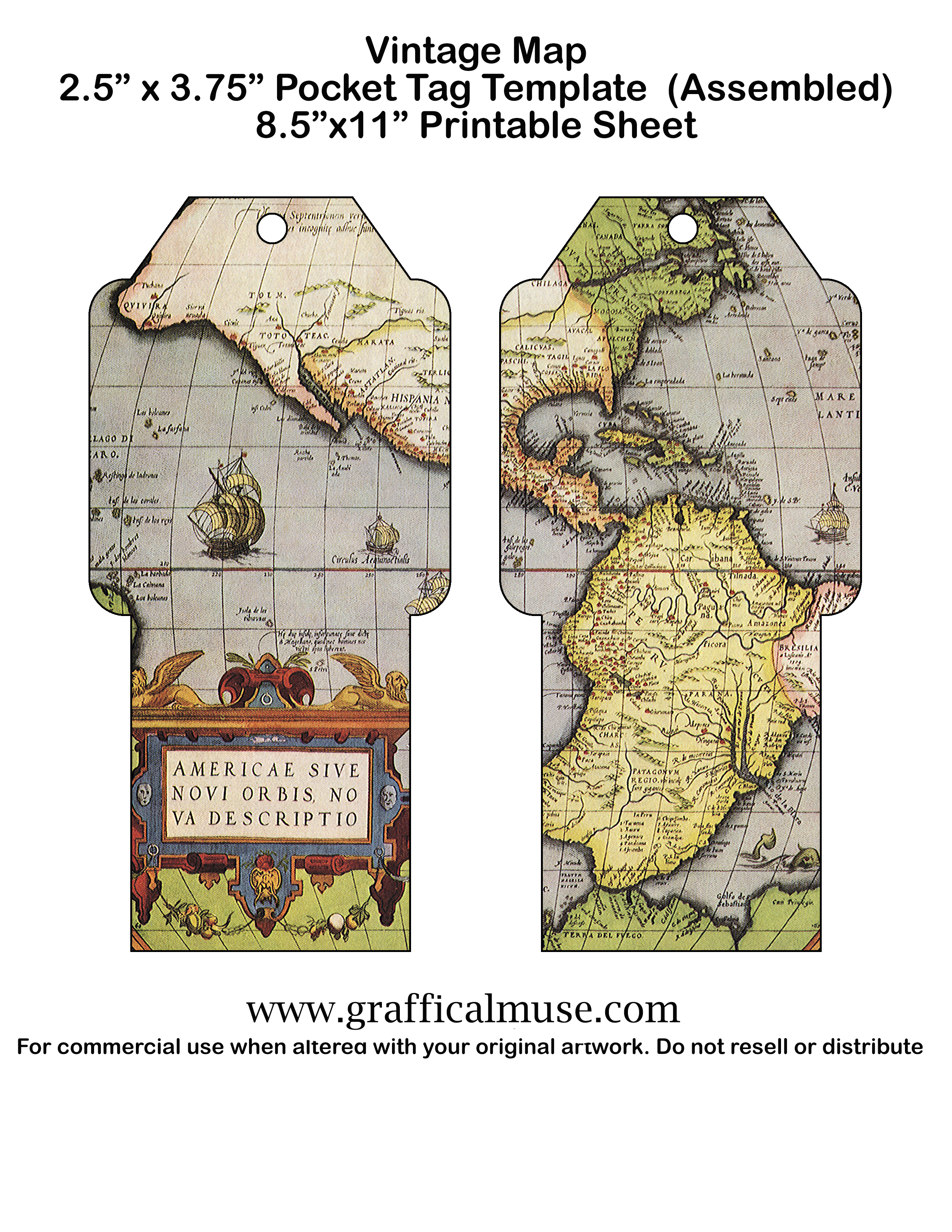 photograph relating to Free Printable Vintage Maps named No cost Printable Pocket Tags - Traditional Maps - The Graffical Muse