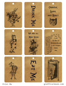 Free Vintage Alice in Wonderland Printable Tags