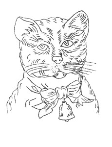 Free Victorian Embroidery Pattern - Cat