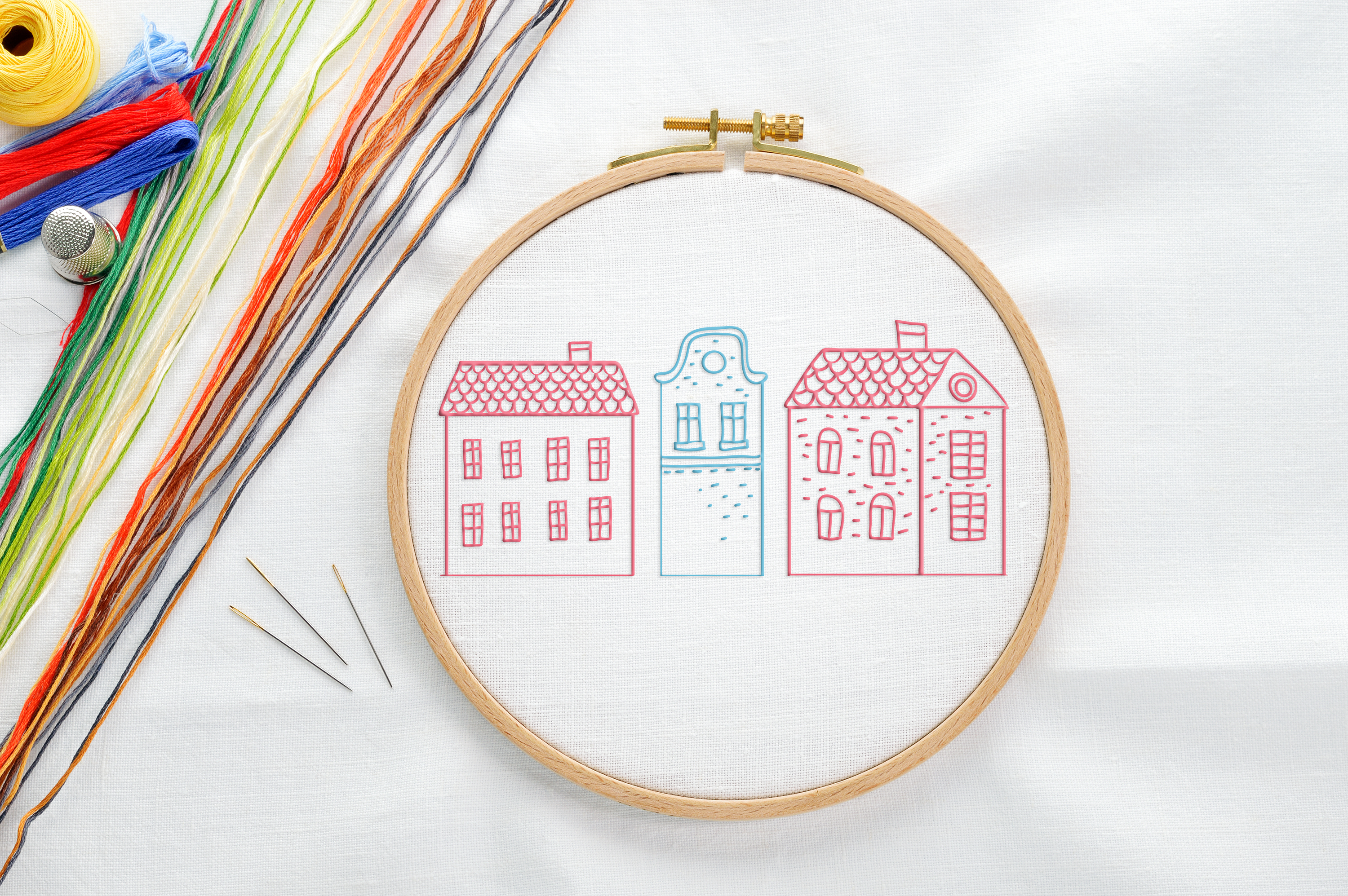 Free Cute Houses Embroidery Patterns Printable The Graffical Muse