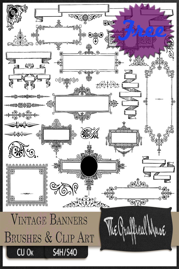 Free Photoshop Brushes - Vintage Borders, Frames, & Banners with PNG ...