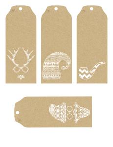 Hipster Christmas Tags - Free Printable
