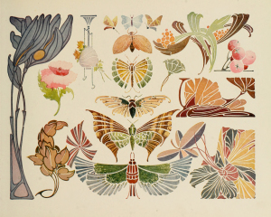 Vintage Art Nouveau Butterflies and Flowers Clip Art