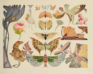 Vintage Art Nouveau Butterflies and Flowers Clip Art