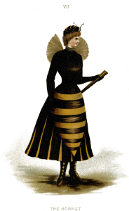 Vintage illustration of woman in hornet costume