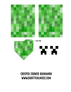 Minecraft Creeper Bookmark Printable