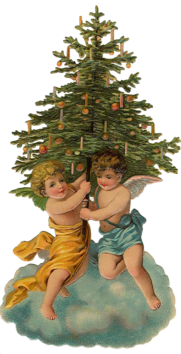 Vintage victorian christmas die cut clip art day the