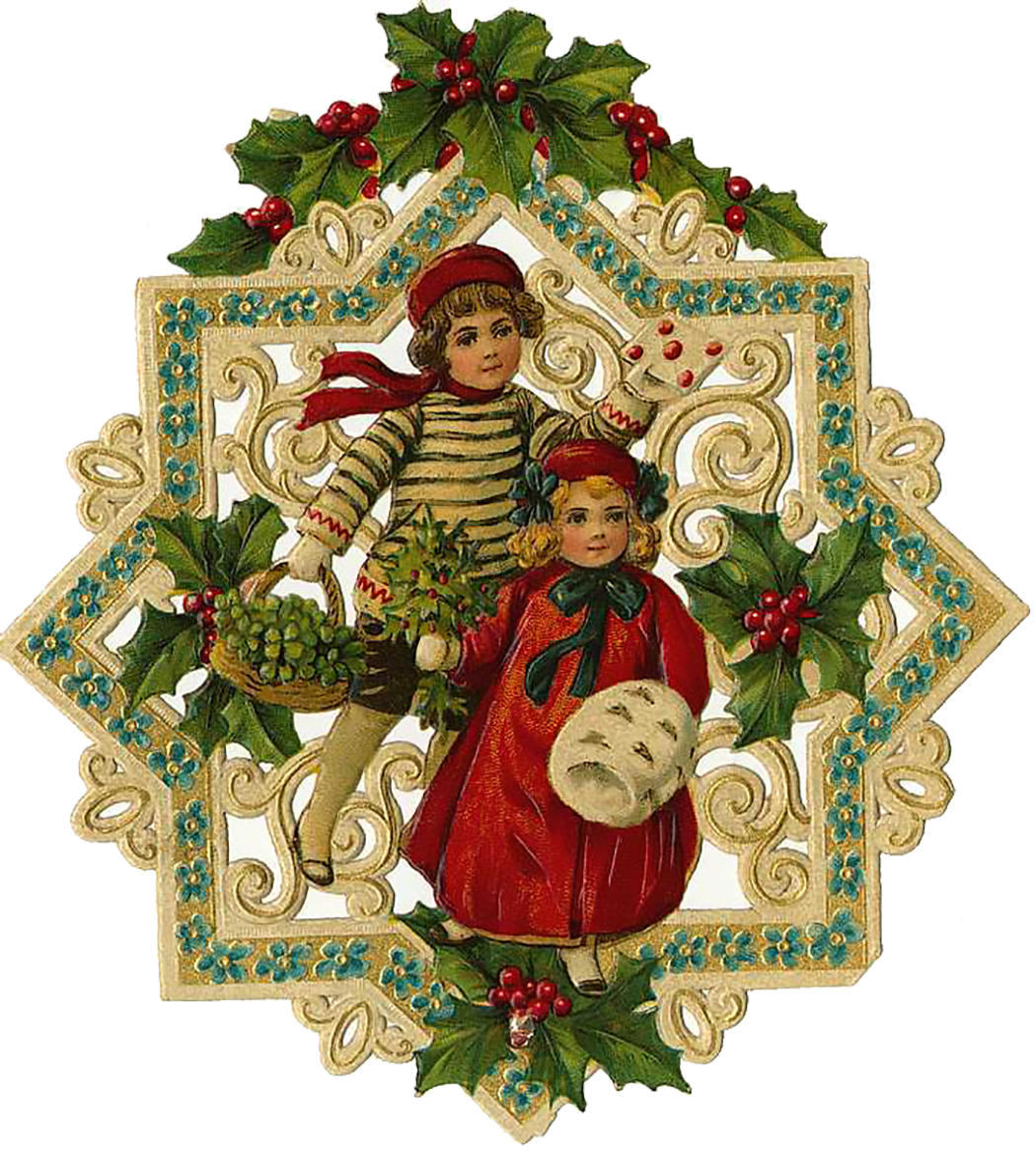Vintage Victorian Christmas Die Cut Clip Art Day Eight ...